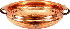 "IndianArtVilla Vintage Style Copper Urli Container Pot, Storage Water, Home Office Décor Gift Item, Diameter 14"" Inch"