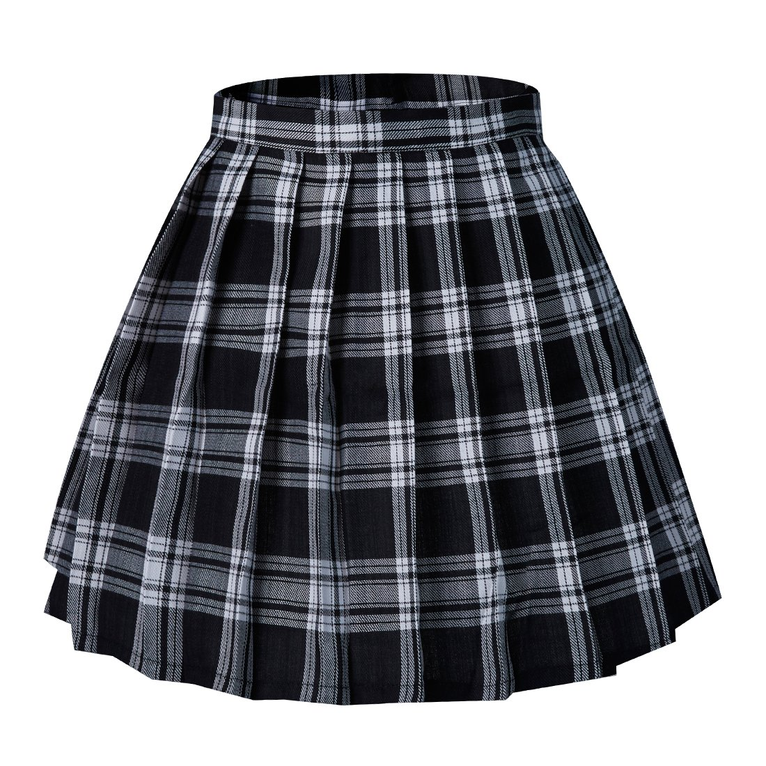 Tremour Girls School Uniforms Solid Summer Skirts Pleated Mini Skirt(L,Black White)