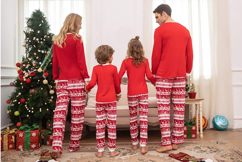 Ekouaer Family Matching Christmas Pajamas Set Classic Striped Santa Elf Xmas Pjs Set