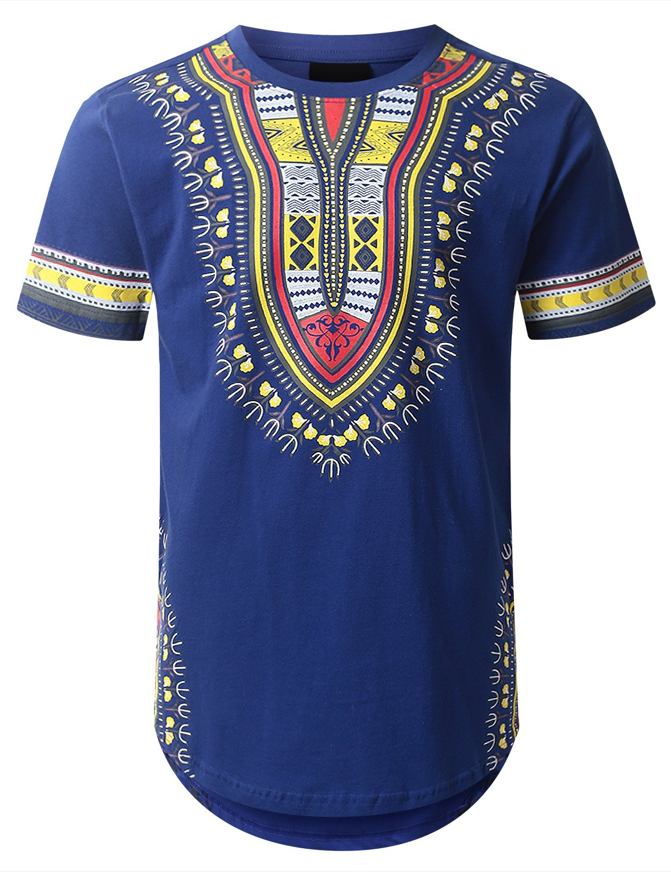 URBANCREWS Mens Hipster Hip Hop Dashiki Graphic Longline T-Shirt Royal Large