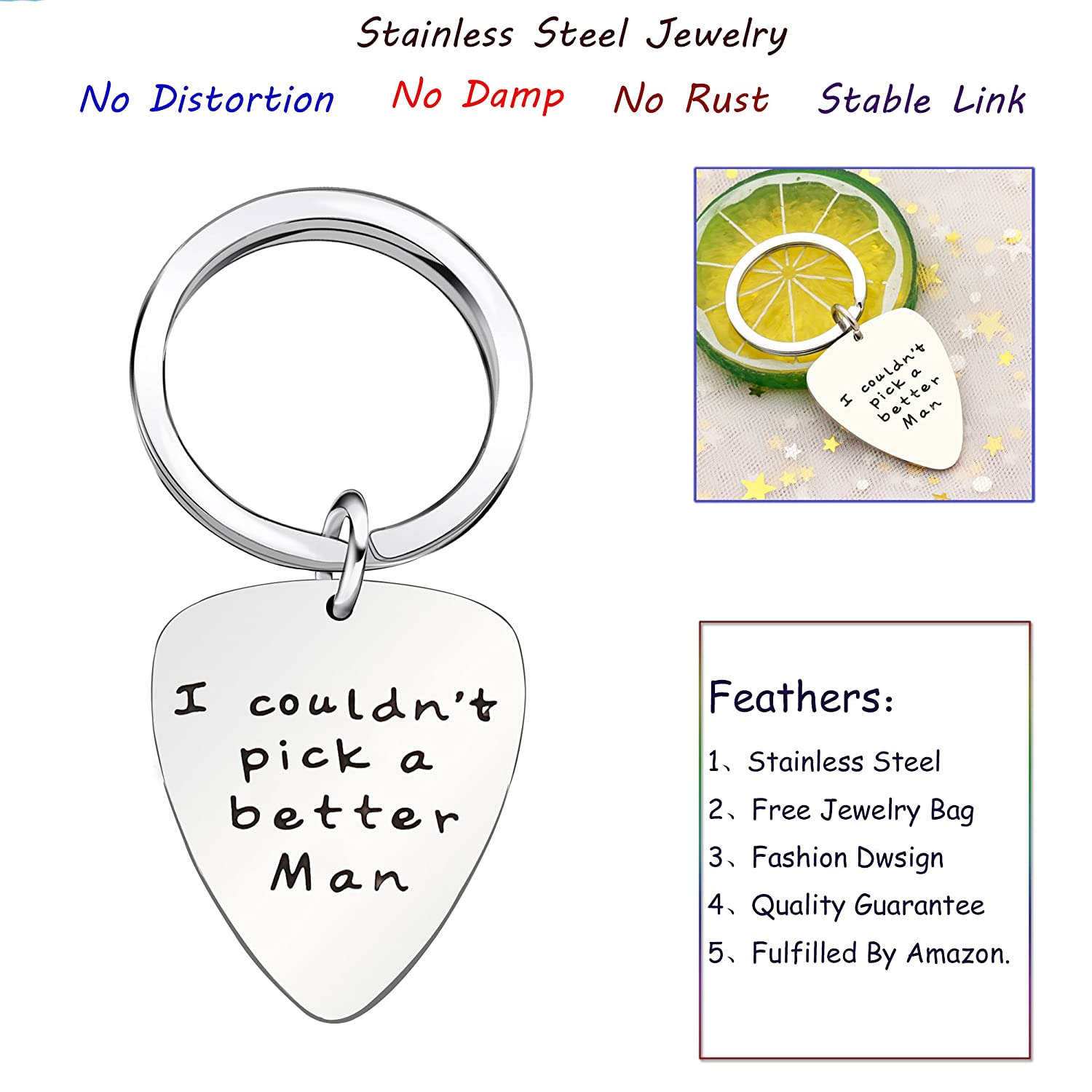 Key Chain Ring Valentine Wedding Gift for Men Guitar Pick I Couldnt Pick a Better Man Stainless Steel