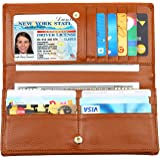 Dante Women RFID Blocking Ultra Slim Real Leather Wallet-Clutch Wallet-Shield Against Identity