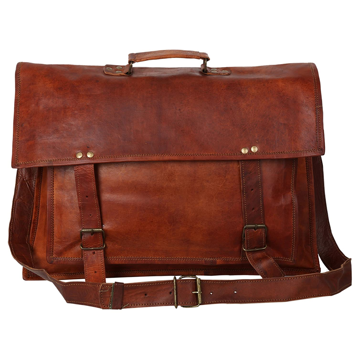 18x13 inch Leather Vintage Rustic Top Handel Messenger Courier Bag Gift Men Women ~ Business Work Briefcase Carry Laptop Computer Book Handmade Rugged & Distressed ~ Everyday Office College School Sparsh International