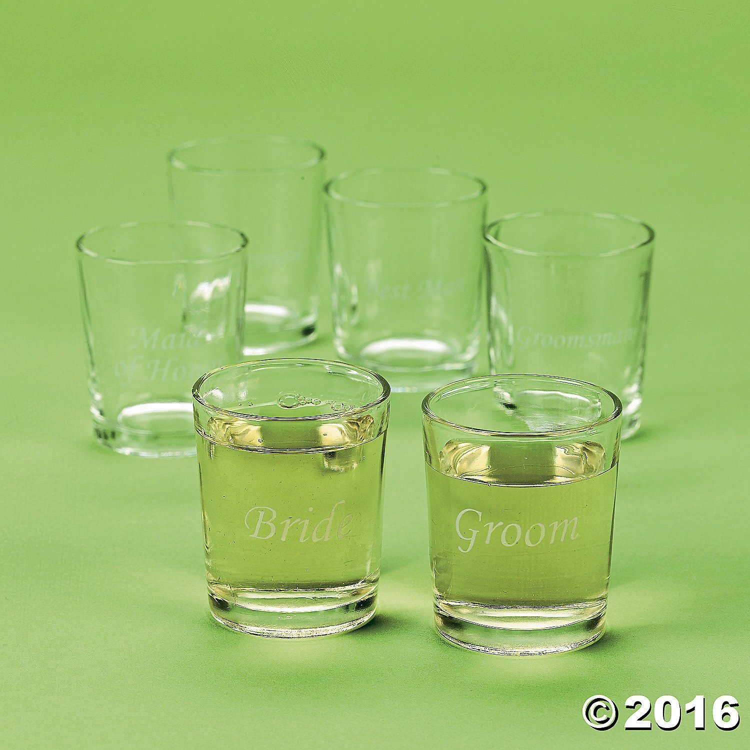 1 dz Etched Glass Wedding Party Shot Glasses