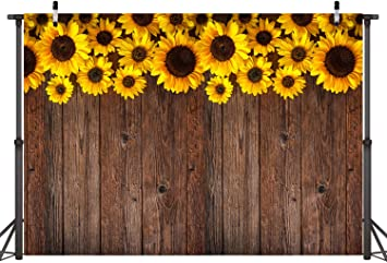 Funnytree 7X5FT Sunflower Wood Texture Backdrops for Photography Rustic Child Baby Shower Birthday Wedding Party Background Banner for Picture Photo Studio Photobooth Decoration