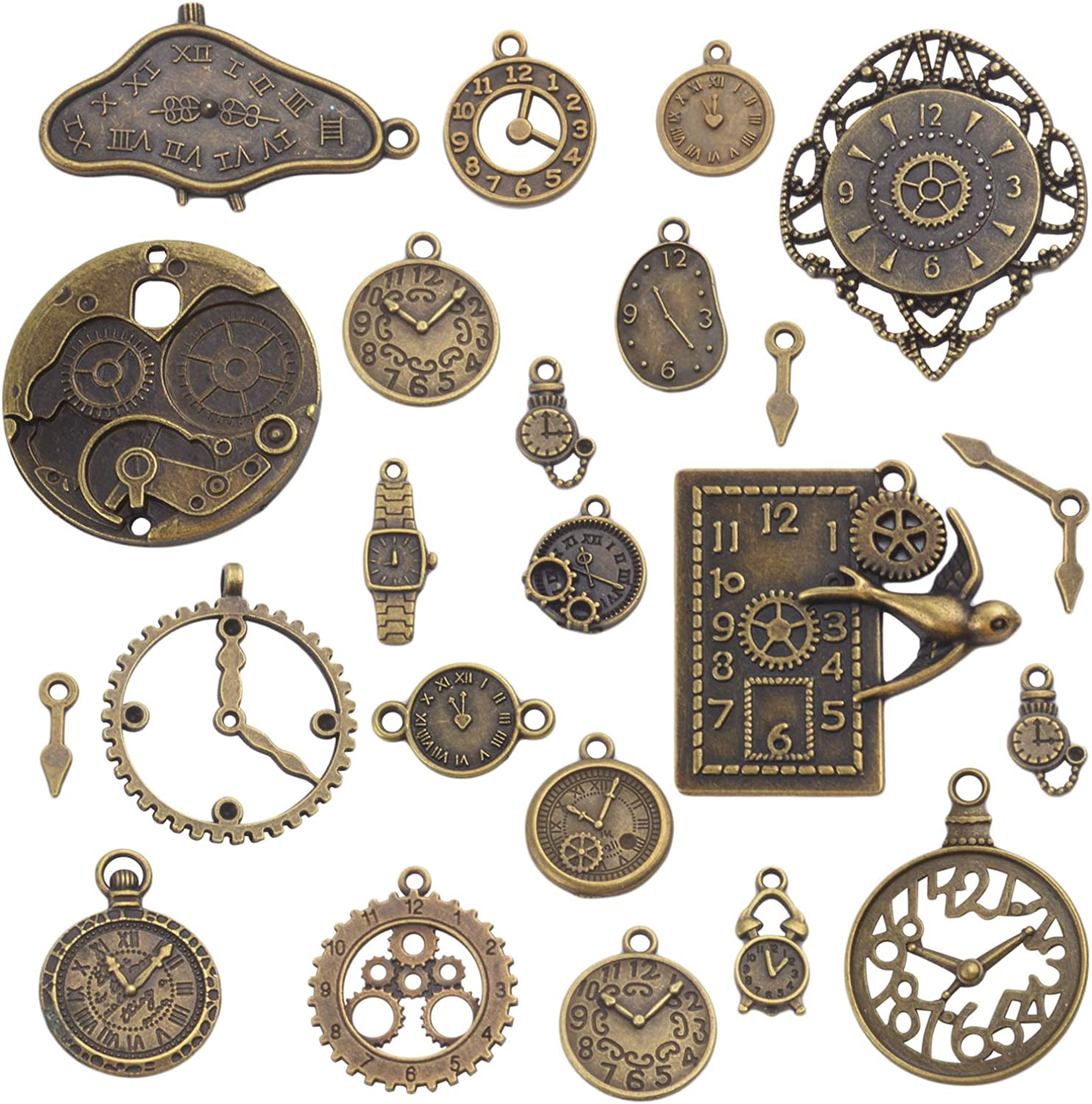 Clock Face Charm Pendant,100 Gram Multi-Style Clocks and Watches Dial Face Movement Charms Gears Steampunk Pendant Craft Supplies for DIY Jewelry Making