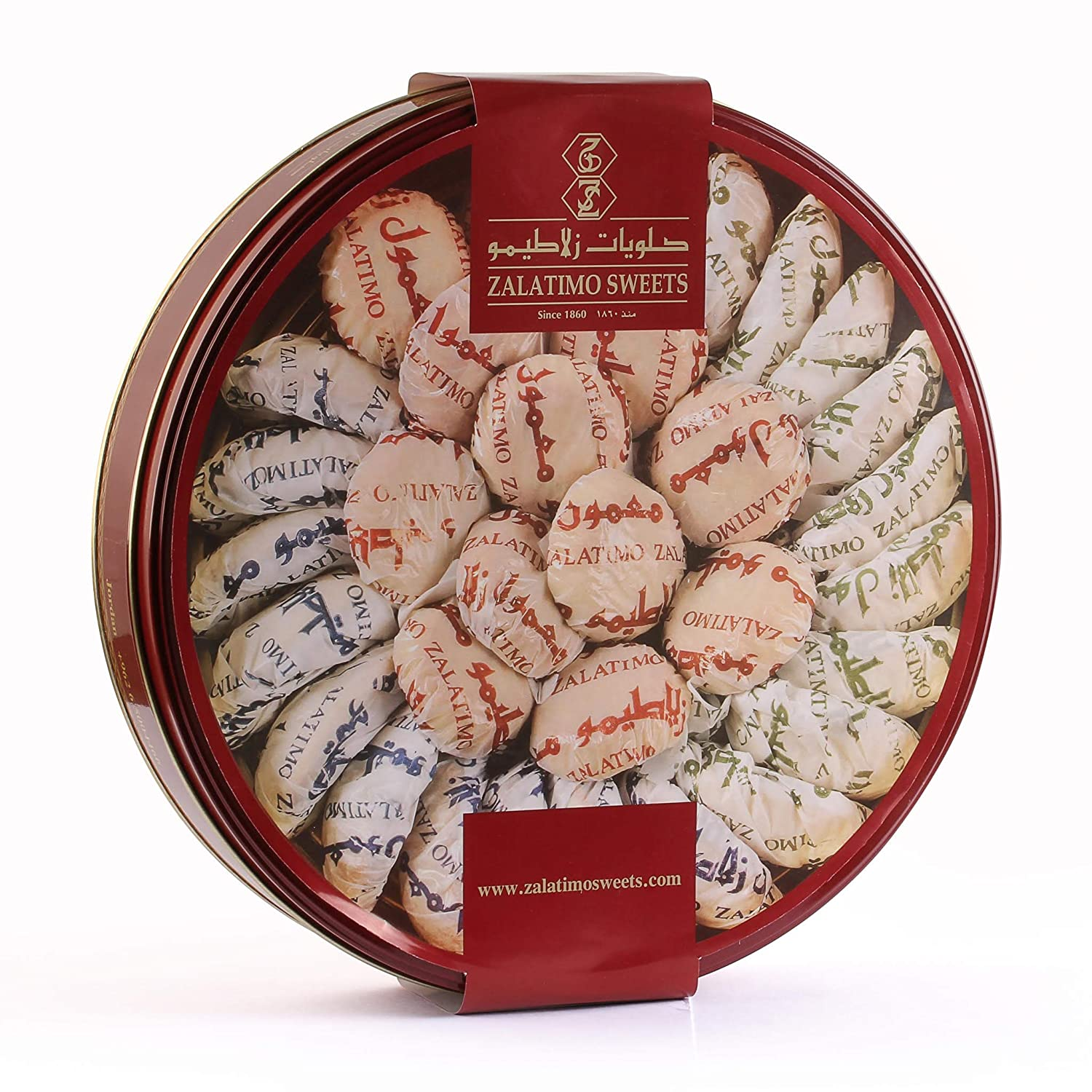 Zalatimo Sweets Since 1860, 100% All-Natural Assorted Mamoul Round Gift Tin Shortbread Biscuits, Slightly Sweet, Pistachio, Walnuts, Dates, No Preservatives, No Corn Starch, No Syrups! 2.2 LB