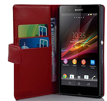 Cadorabo – Funda Estilo Libro para Sony Xperia Z – Case Cover Carcasa Funda con Tarjetero en Chili de Color Rojo