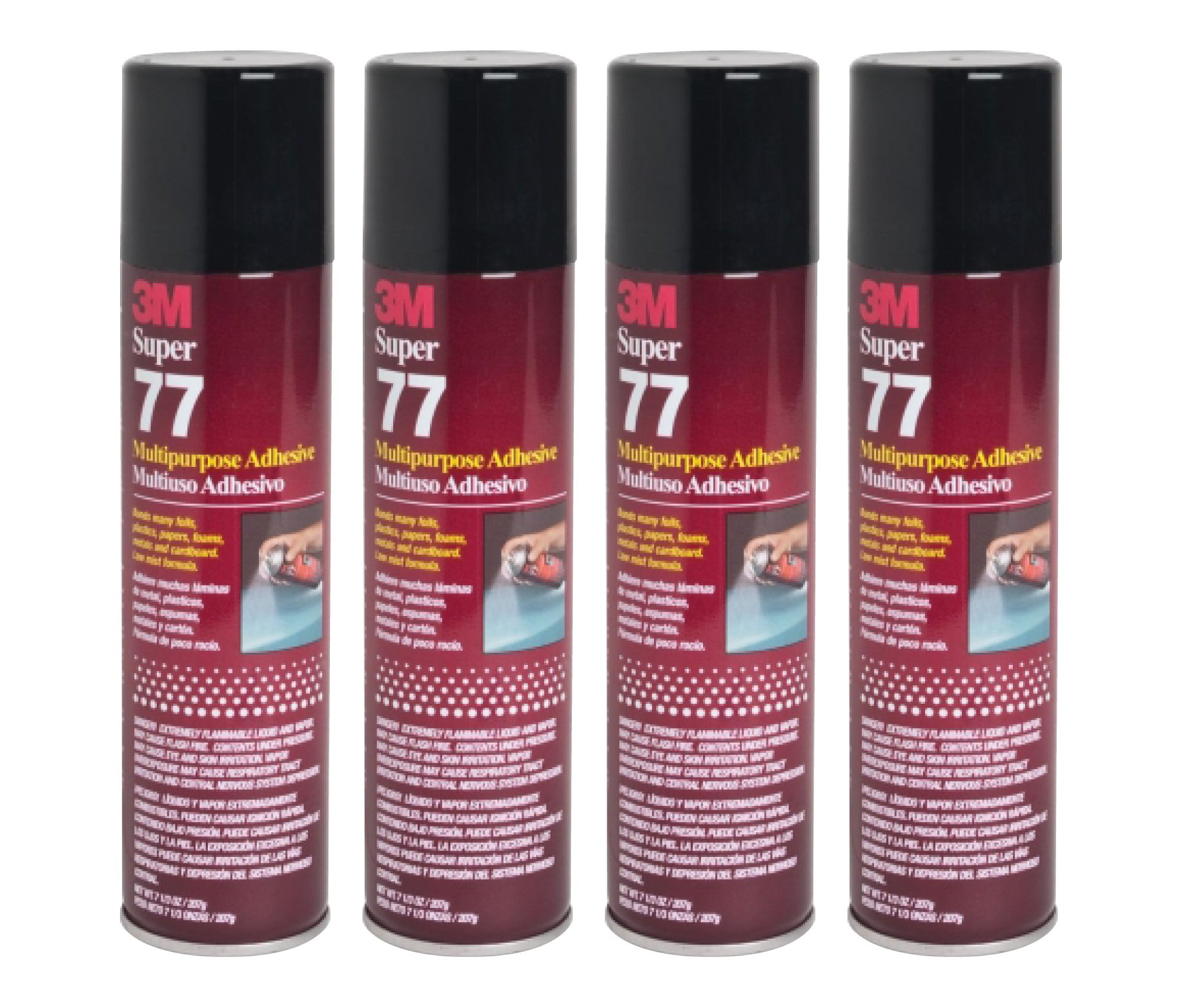 QTY4 3M SUPER 77 7.3 OZ LARGE SPRAY GLUE CAN MULTIPURPOSE ADHESIVE by 3M SUPER 77