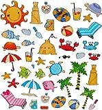 42 Pièces stickers vacances eté-mer plage beach cancer poissons badeurlaub eau