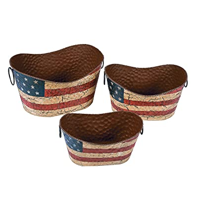 Fun Express Americana Flag Decorative Pails (Set of 3) Vintage Fourth of July Home Decor: Home & Kitchen
