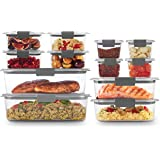 Rubbermaid 2108390 Leak-Proof Brilliance Food Storage Containers, BPA-Free Plastic, 24-Piece Set, Clear
