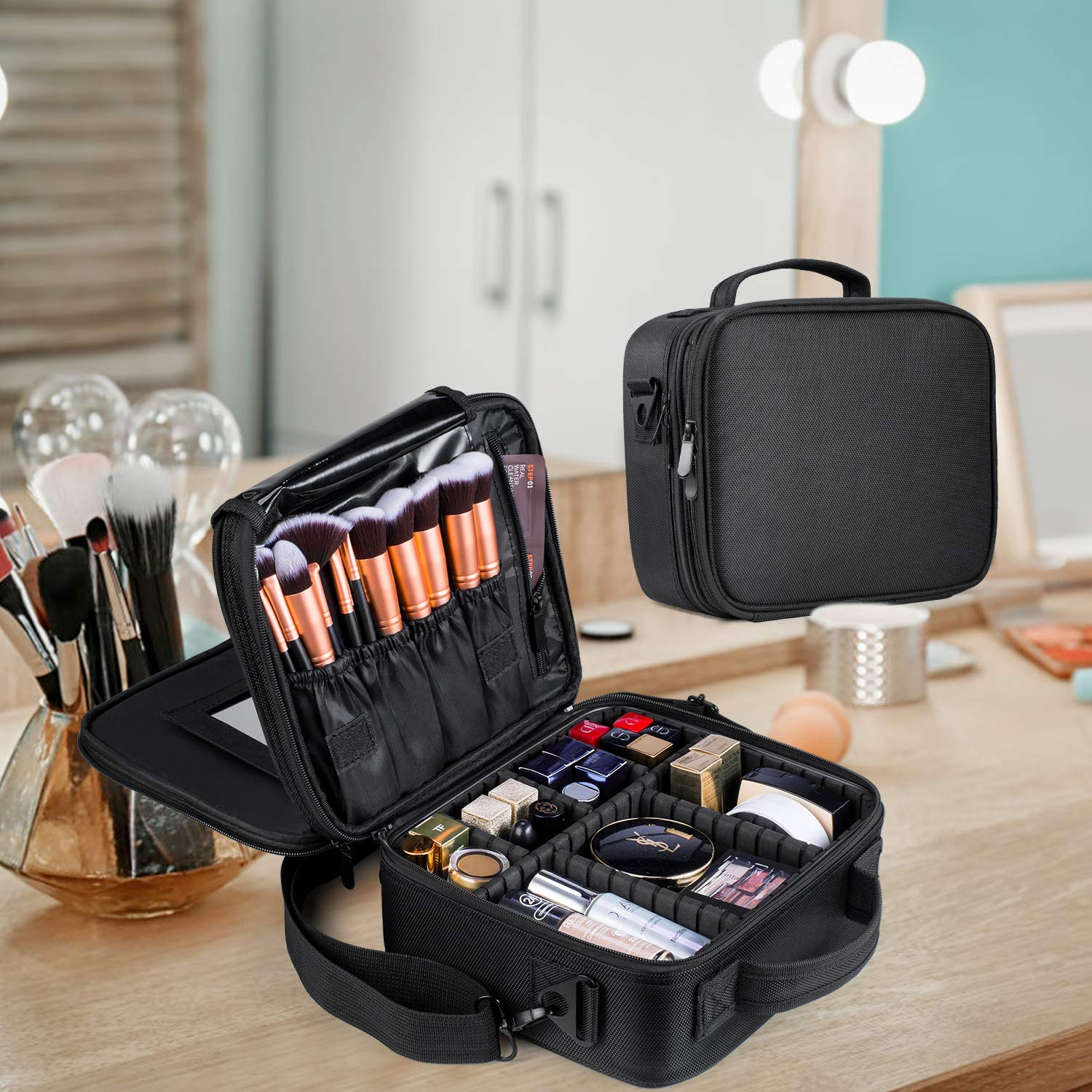 Travel Makeup Bag Double-Layer Portable Train Cosmetic Case Organizer with Mirror