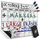 Magnetic Dry Erase Calendar Board, Monthly Refrigerator Calendar, 4 Colored Magnetic Markers 1 Eraser With Magnet For A Complete Set