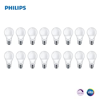 Phillips LED Dimmable A19 Light Bulb with Warm Glow Effect 450-Lumen, 2200-2700 Kelvin, 5.5-Watt (40-Watt Equivalent), E26 Base, Frosted, Soft White, 16-Pack