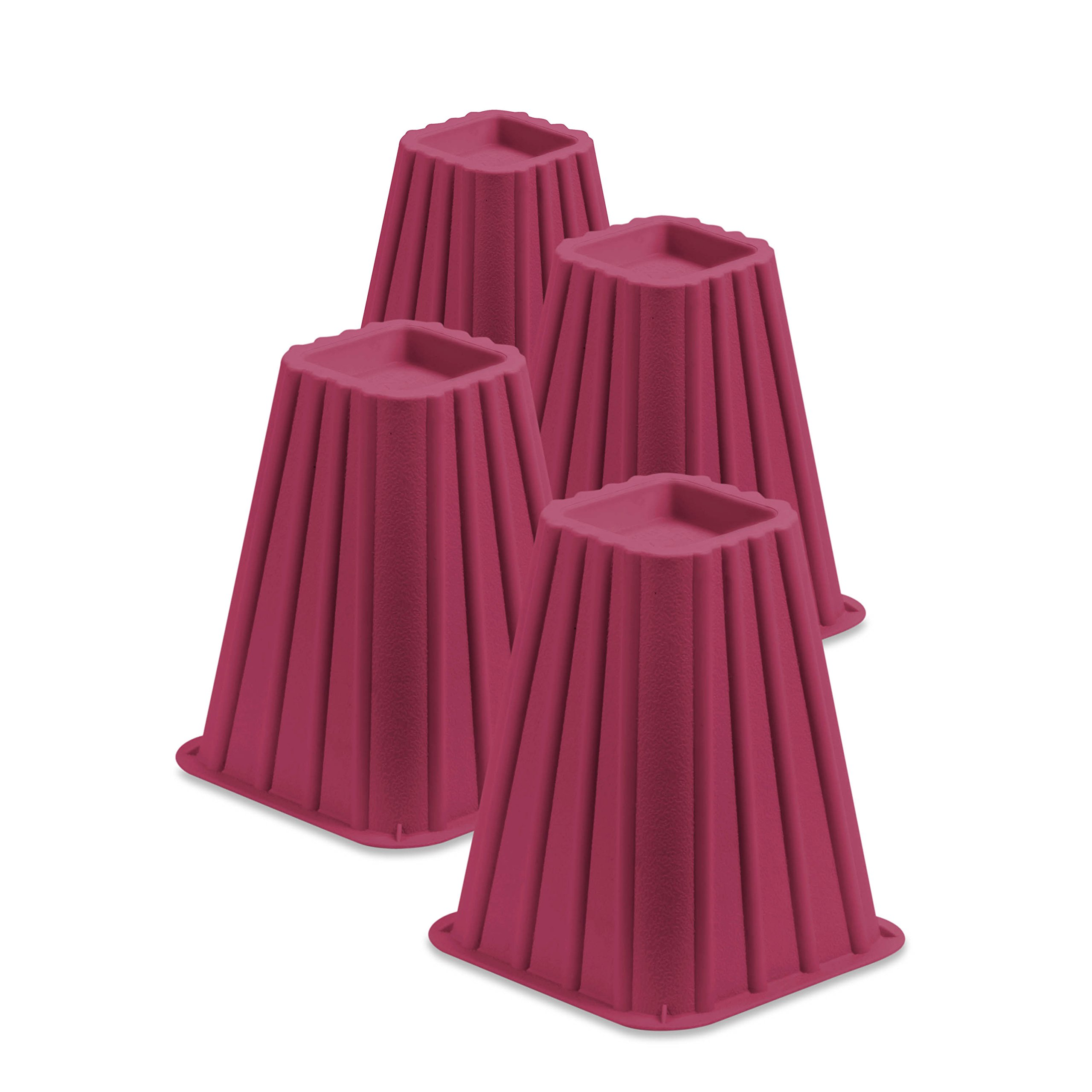 Honey-Can-Do STO-01877 Stackable Bed Risers, 4-Pack, Pink