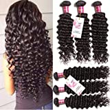 Unice Hair 3 Bundles Brazilian Virgin Hair Deep Wave Hair Extensions 6a Grade Unprocessed Human Hair Wave Natural Color Can Be Dyed and Bleached (12 14 16)