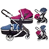 Duellette 21 Combo Twin Tandem Pushchair Baby Newborn carrycots Pram Travel system : 2 Pramette/seat units. Blueberry and raspberry by Kids Kargo