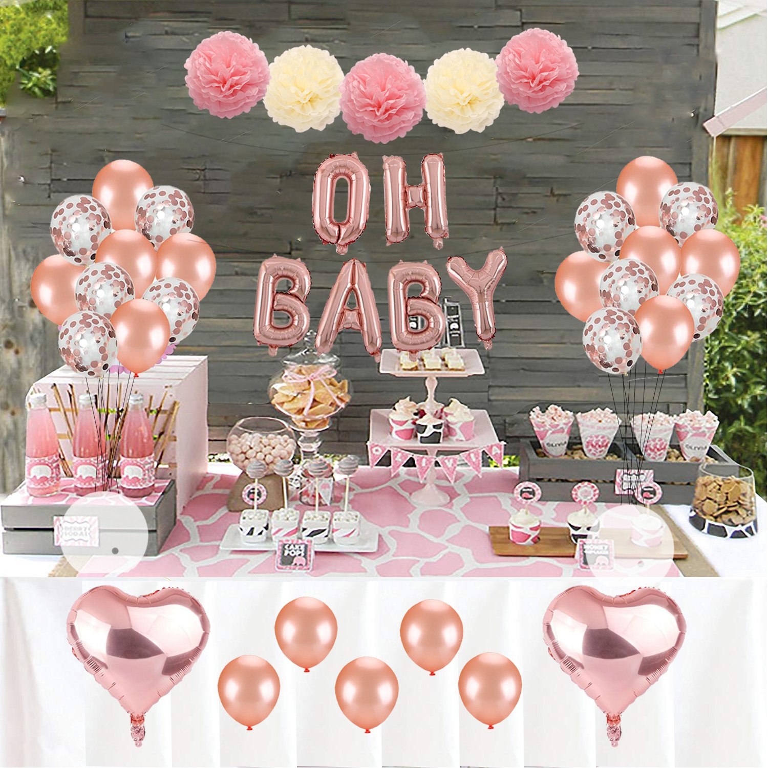 Kwayi Baby Shower Decoration Set Rose Gold Theme Baby Shower Decoration With Oh Baby Banner Rose Gold Balloon And Tissue Paper Pom Poms Toal 35pcs
