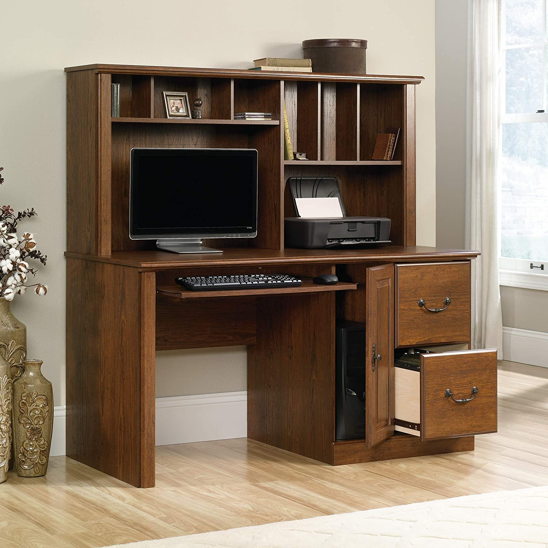 Sauder 418650 Orchard Hills Computer Desk with Hutch, L 58.74 x W 23.47 x H 57.24 , Milled Cherry