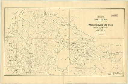 Amazon Com Historic Map Wyoming Idaho Utah 1879 Drainage Map