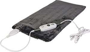 Utopia Bedding Electric Heating Pad (Charcoal Grey) 24 x 12 Inches - 3 Electric Temperature Options. Auto Shut Off and Washable Cover