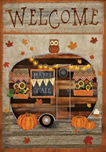 "Briarwood Lane Fall Camper Primitive Garden Flag Welcome Autumn 12.5"" x 18"""