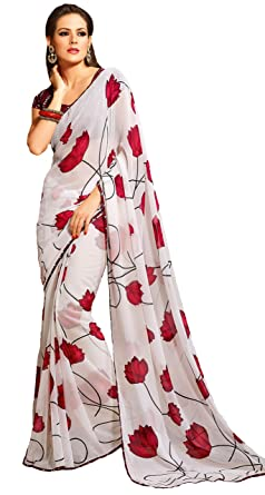 1bd7e8f29d Image Unavailable. Image not available for. Colour: Pagli Cream With Red  Floral Printed Chiffon Georgette Saree