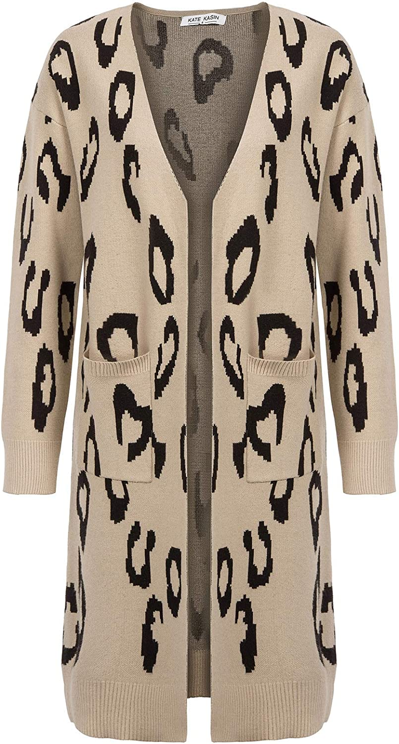 Kate Kasin Damen Langarm Leopard Strickjacke Offene Tops Casual Cardigan Strickmantel KK1288