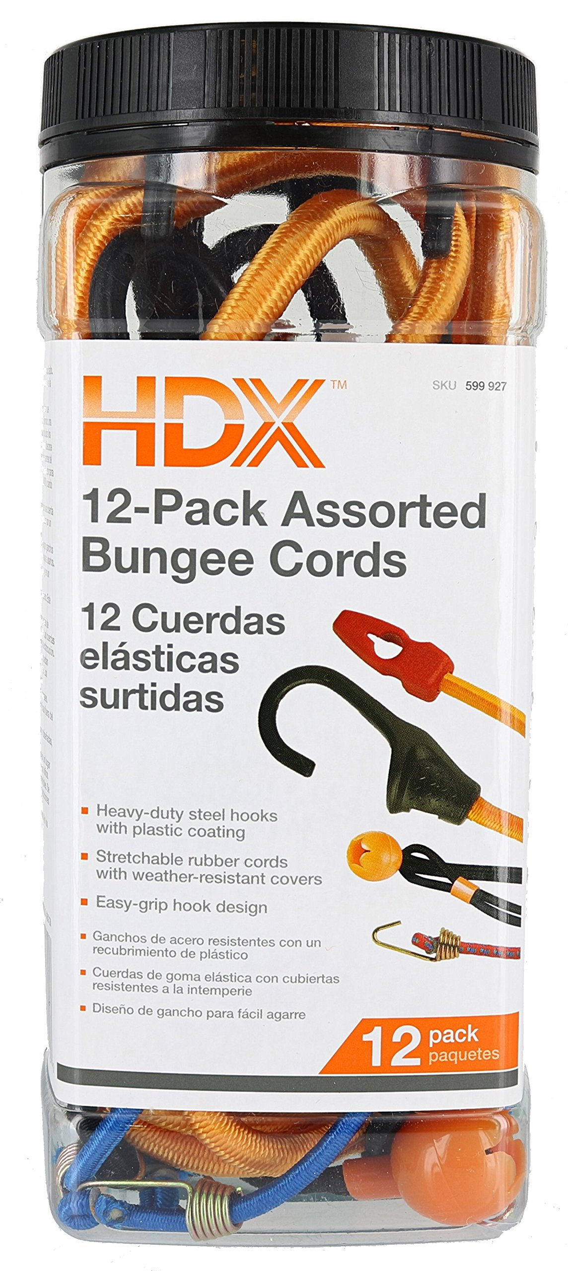 HDX JBS12 12-Pack of Assorted Latex Rubber-Cored Bungee Cords and Canopy Tarp Ties w/ Reusable Storage Jar