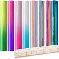 GROBRO7 9 Pack Cold Color Changing Vinyl and Holographic Vinyl Sheets Cold Change Permanent Adhesive Vinyl Sheets Bundle…