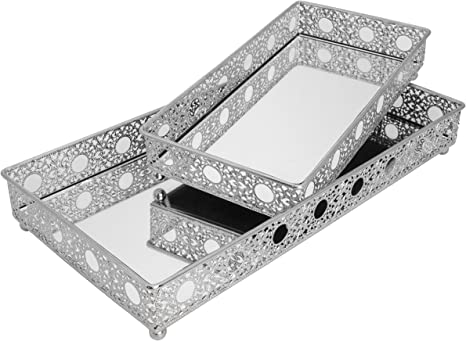 Amazon Com O Plus Set Of 2 Bathroom Vanity Tray Decorative Tray Mirror Tray Serving Tray Perfume Collection Tray Candle Tray Home Kitchen