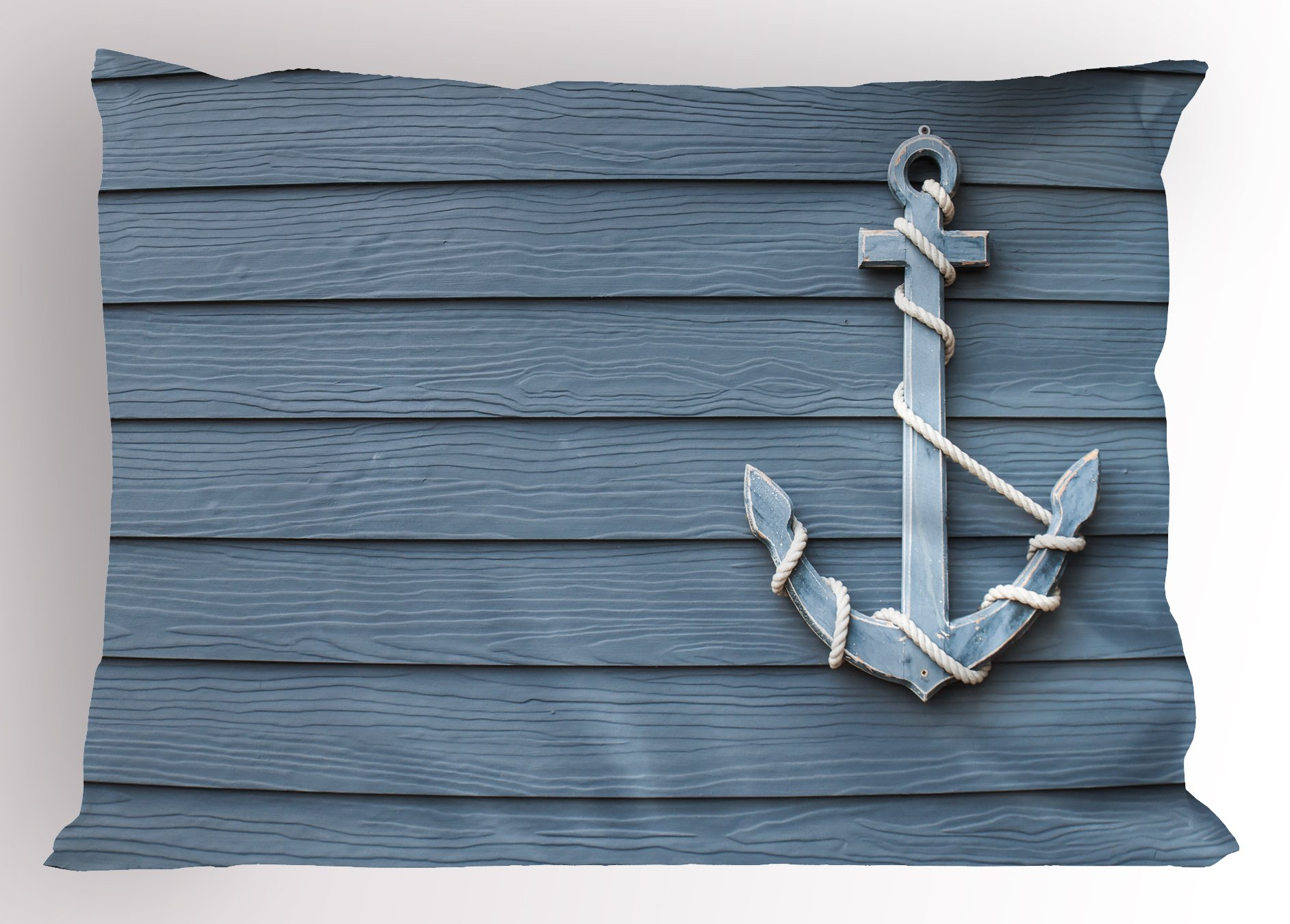 Ambesonne Nautical Decor Pillow Sham by, Anchor with Marine Rope on Wood Background Sea Ocean Life Coast Cruise Theme, Decorative Standard King Size Printed Pillowcase, 36 X 20 Inches, Blue Grey