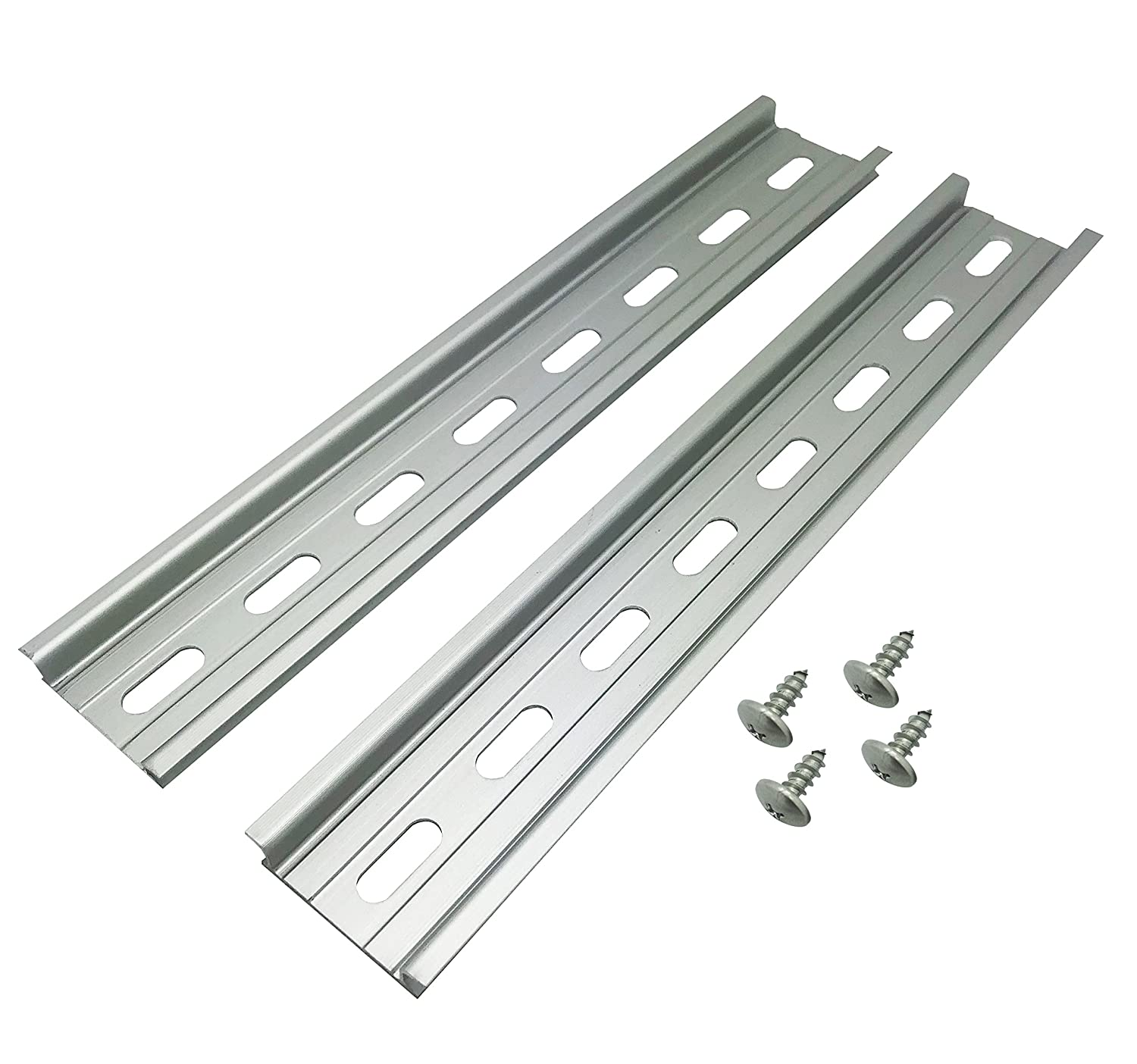 Electrodepot Slotted Aluminum DIN Rail, 35mm x 8\', Silver - 2 Pieces with 4#10 Stainless Steel Screws 35mm x 8