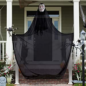 10 ft. Hanging Vampire Halloween Decoration & Haunted House Prop – Scary Floating Dracula Theme for Doorways, Hallways, Parties, Spooky Yard Decor, Indoor/Outdoor Use, Porches, Trees, & Windows