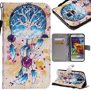 Lomogo Carcasa Samsung Galaxy S5, funda de piel con puerta ...