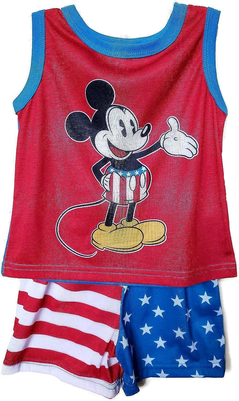 Tank Pajama Set Size 4T Red Disney Mickey Boys Patriotic Fourth-of-July Polyester Shorts