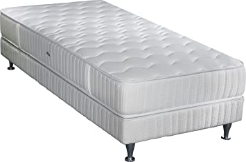 Simmons Barcelona colchón + somier + pie Blanco, Blanco, 90 x 200 cm