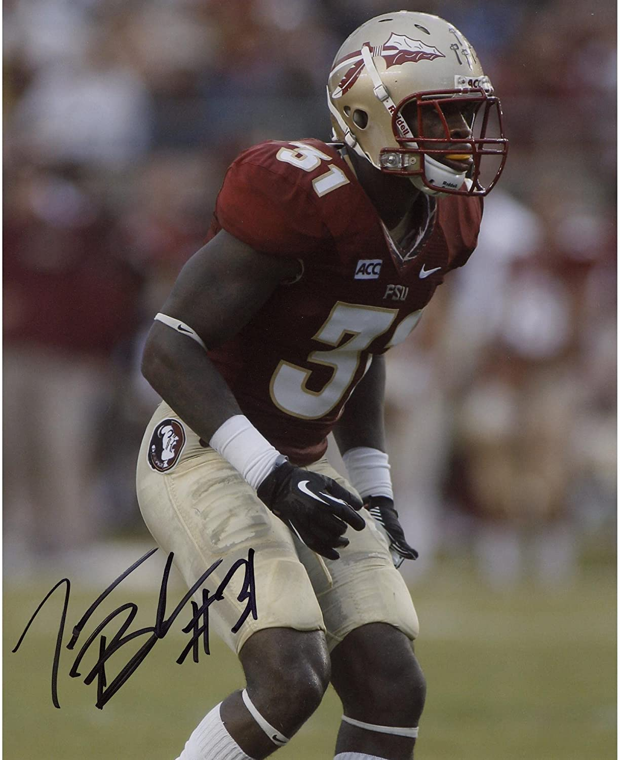 Terrence Brooks Florida State Seminoles Autographed 8' x 10' Red Uniform Stance Photograph - Fanatics Authentic Certified