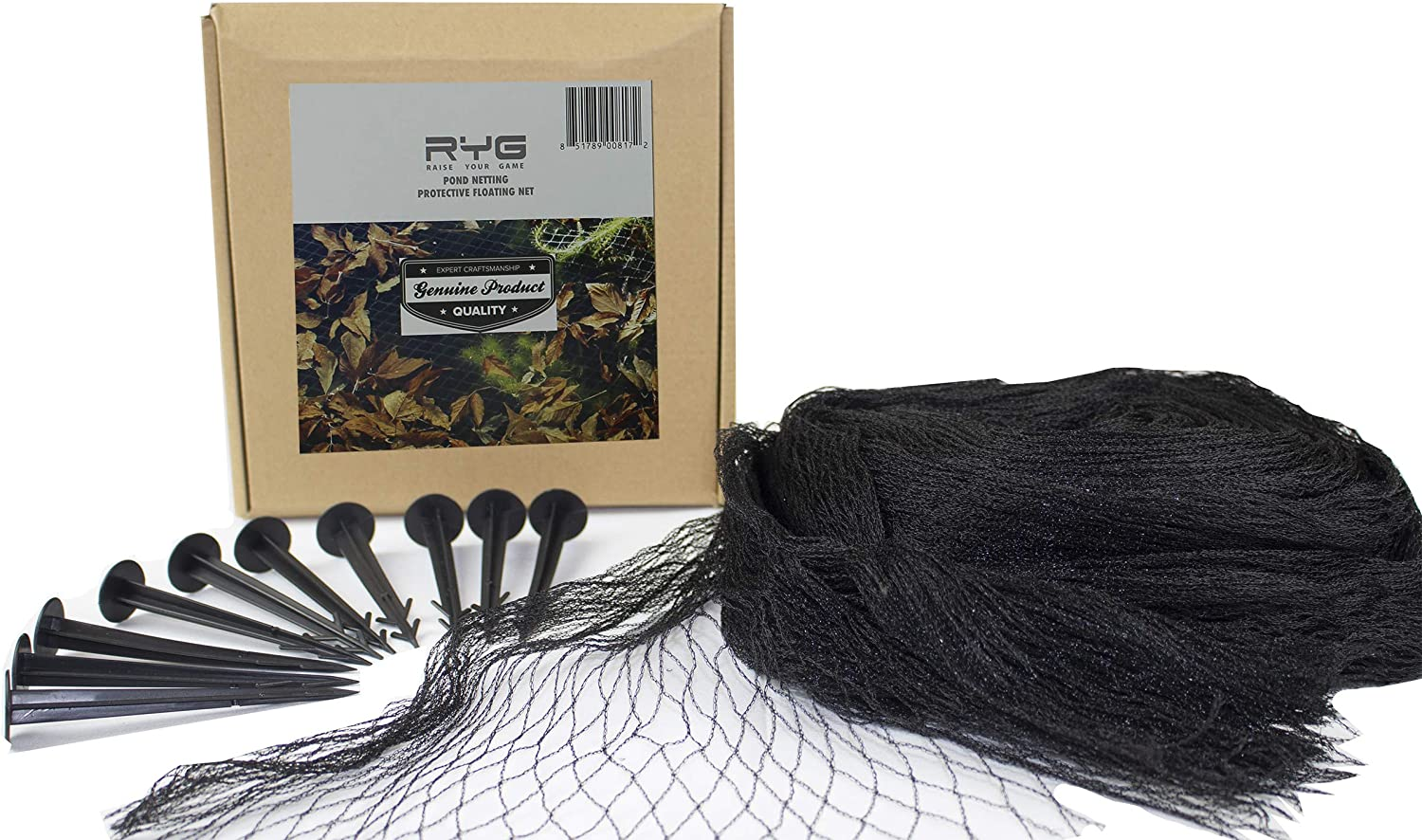 RYG Koi Pond Netting Kit 25x25 Feet, Heavy Duty Mesh Pool Net for Easy Cleaning, Protective Cover for Koi Fish, Skimmer Net Screen for Falling Leaves and Debris, Placement Stakes Included