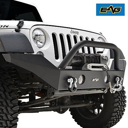 EAG 07 18 Jeep Wrangler JK Full Width Front Bumper With Fog Lights Hole  Winch