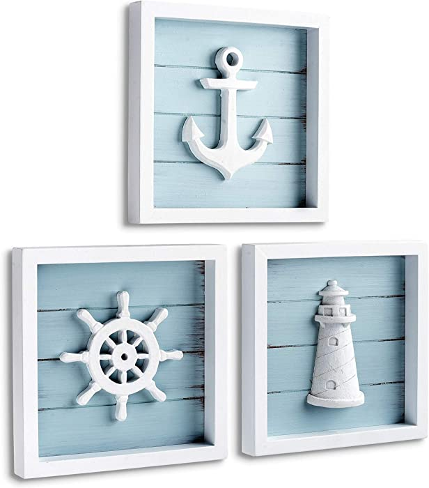 "TideAndTales Nautical Wall Decor Set of 3 (7""x7"") Rustic Beach Decor with 3D Anchor, Lighthouse and Ship Wheel 