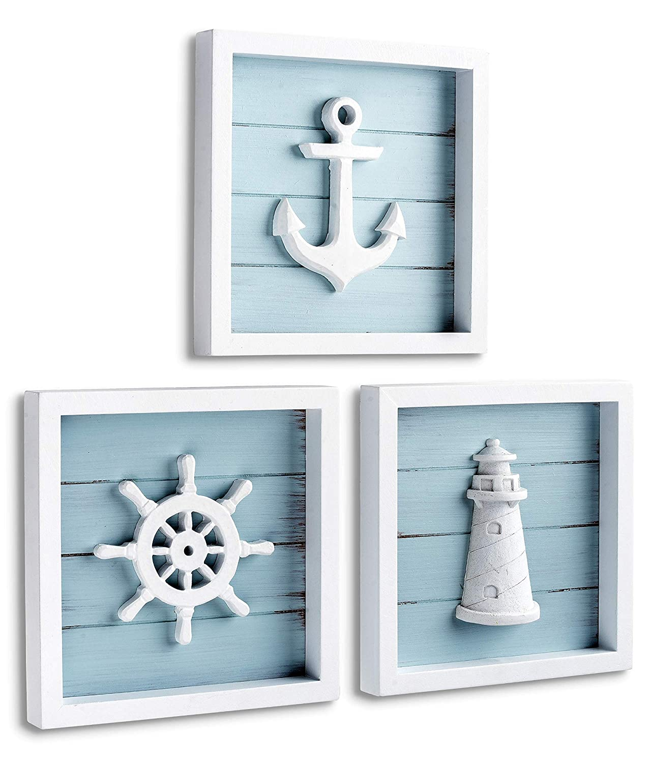 "Buy TideAndTales Nautical Wall Decor Set of 6 (6""x6"") Rustic Beach"