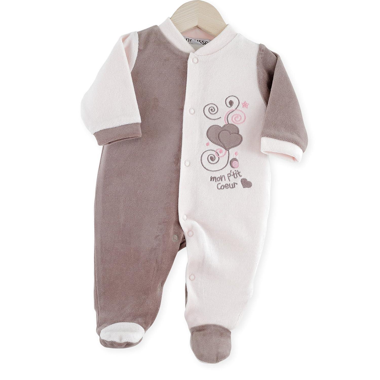 Kinousses 810 2074 Pyjama en Velours pour Bébé Rose 00 Mois (prématuré)