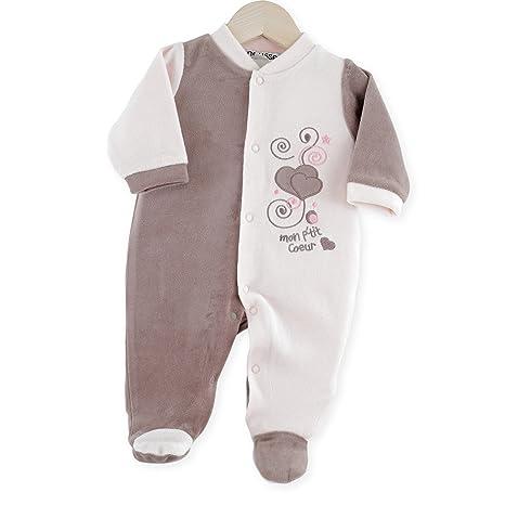 Kinousses Pijama de terciopelo para niña, color rosa rosa rosa Talla:0 meses
