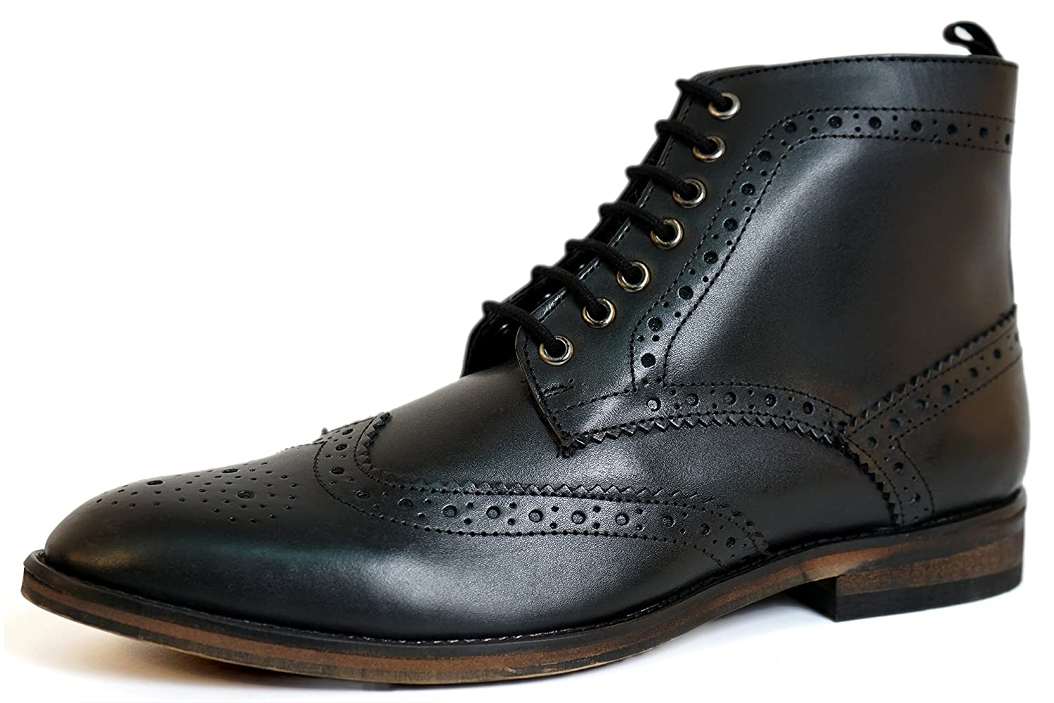 Aspele Mens Classic Leather Lace up Brogues Ankle Boots  Tan Burnish  Black and Brown hellipKlassische Herren Brogues Stiefelette Schwarz