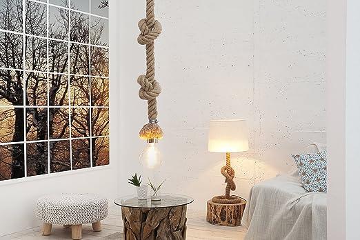 Pendellampe E27 Modern Kunstvoll Maritim Echtes Tau Aus Jute Abacá  Hängeleuchte Design Wohnzimmer