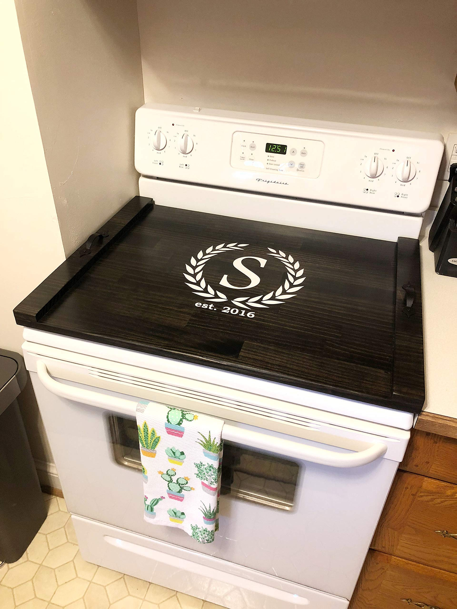 Rustic Stove Top Cover, Wooden Tray For Stove, Monogram Stove Cover, Stove Tray, Decorative Tray by The Appalachian Artisans (Image #4)