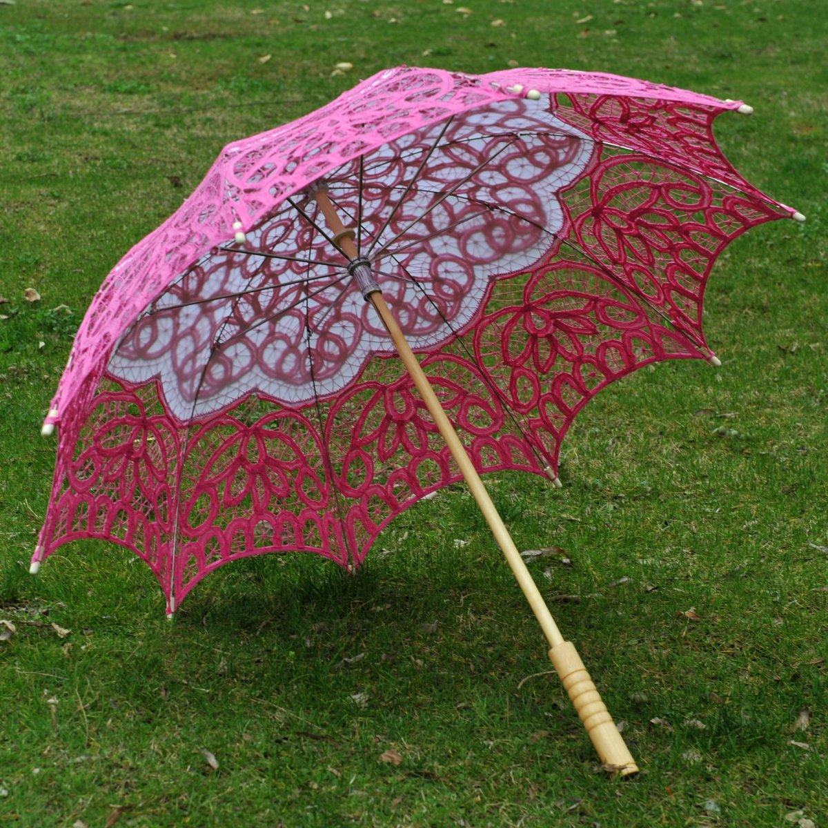 Topwedding Classic Cotton Lace Parasol Umbrella Bridal Shower Decoration, Fuschia by Topwedding (Image #5)