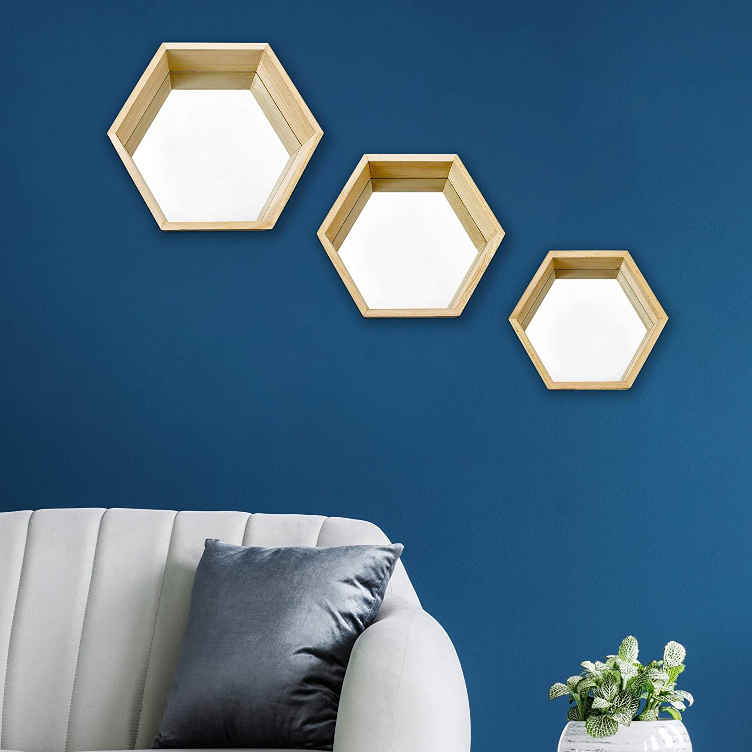 PARNOO Wall Mirror Set of 3 Hexagonal Wood Frame Mirrors | Wall Mounted Mirrors | Geometric Mirror Set for Wall Décor